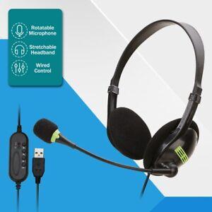 Headset Usb Earphone Mic Wired Headphones Office For Pc Laptop Phone Call Center Ebay