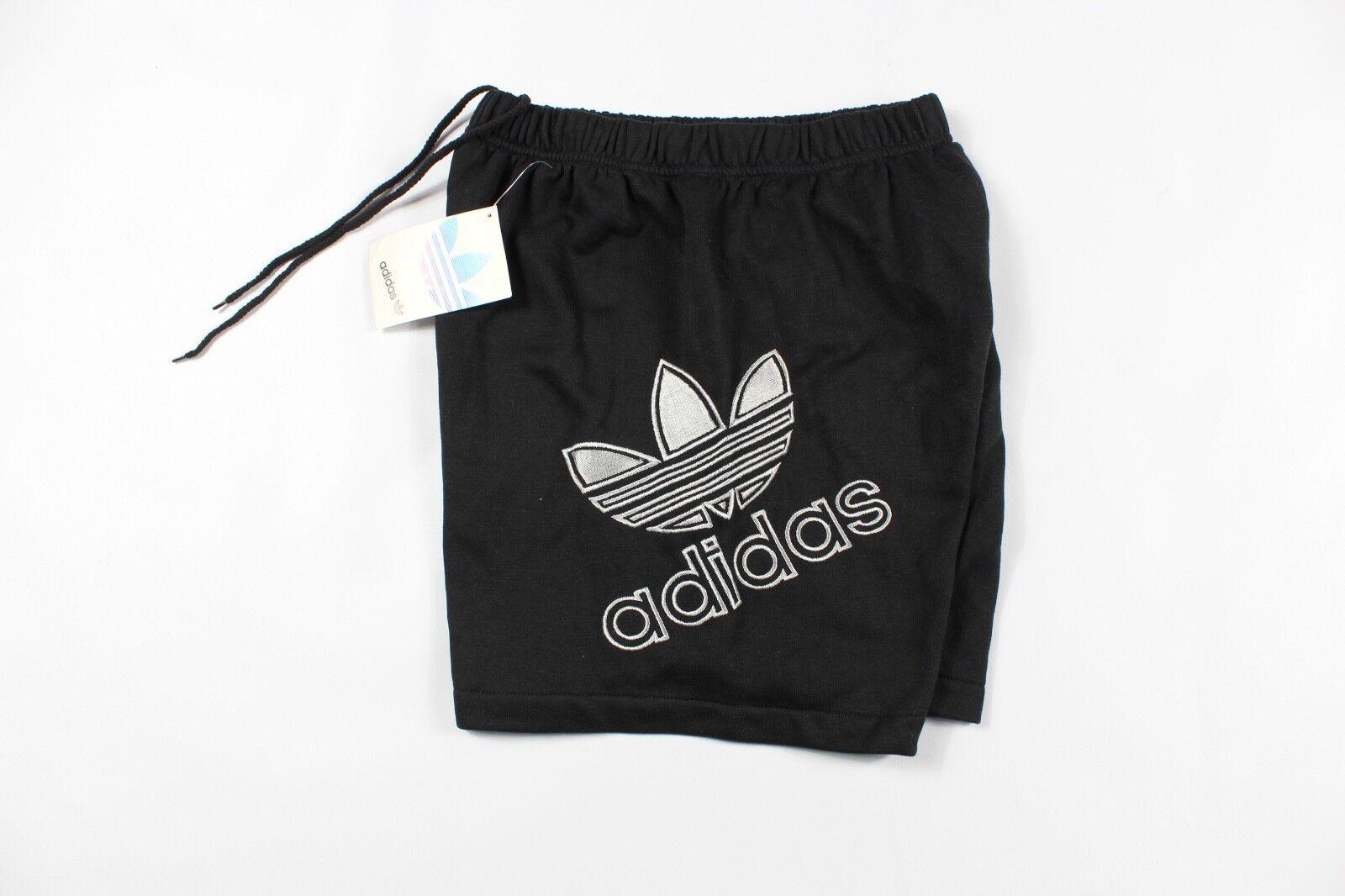 Vintage 80-as évek Adidas Férfi Közepes Trefoil Nagy Logo Spell Out Fleece rövidnadrág fekete