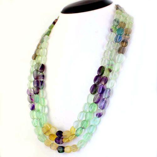 615.00 cts naturel non chauffé Multicolore Fluorite ligne 3 Forme Ovale Perles Collier