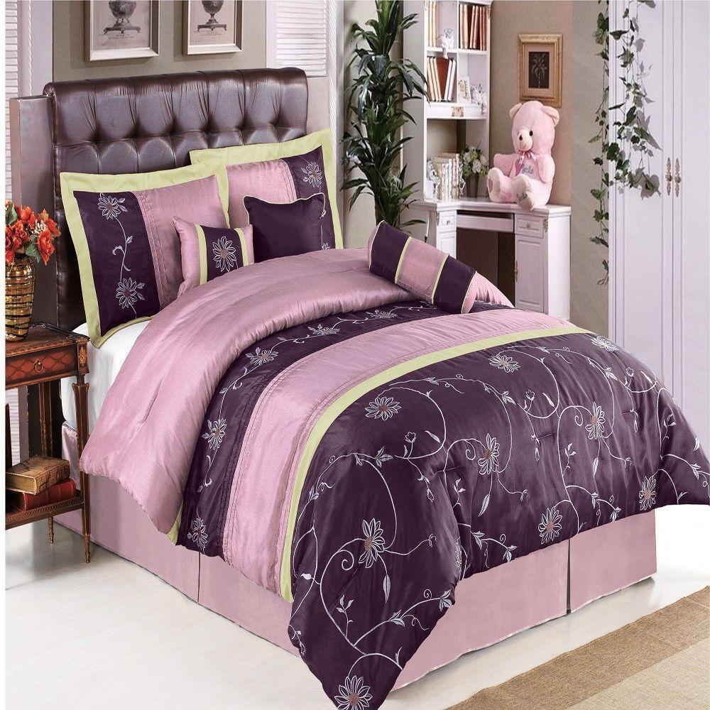 Luxury 7pc Purple & Lavender Comforter Set w Decorative Pillows AND Shams - KING