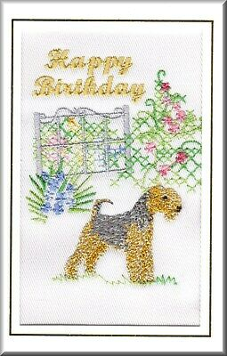 Lakeland Terrier Birthday Card Embroidered by Dogmania FREE PERSONALISATION