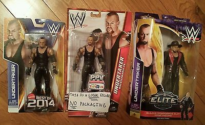 LOT OF 3 WWE THE UNDERTAKER 1 LOOSE 1 NEW BEST OF PPV ELITE WRESTLEMANIA 2014