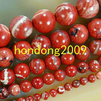 "4/6/8/10/12mm Natural Red River Jasper Round Loose Beads 15"" Choose Size"