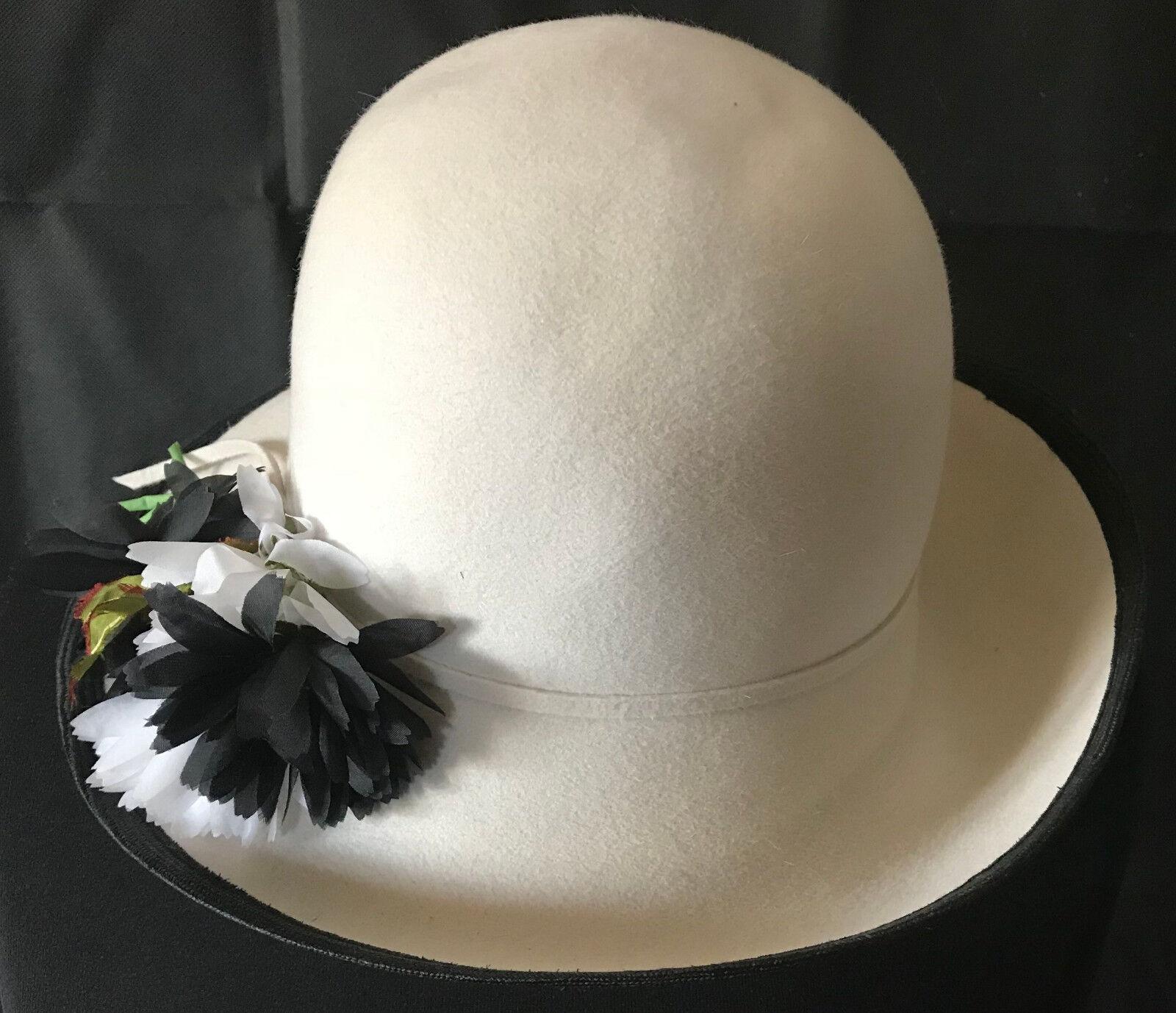! con estilo: Mayser bazo sombrero en talla 54-flores joyas blanco-crema ladylike