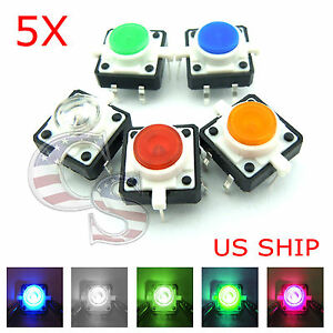 Details about 5X LED Light Tactile Push Button Switch Momentary Cap  Assorted Kit Arduino