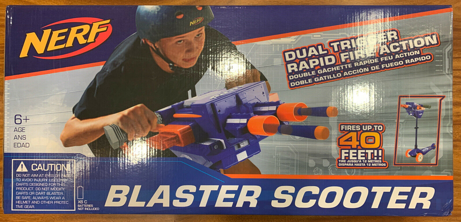 NERF Blaster Scooter Dual Trigger 3 Wheel Kick Scooter