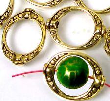 25 Golden Pewter Dodut Frame Gun Metal Beads 20x15mm ~ Lead-Free