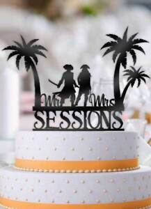 Personalized Tropical Beach Pirates With Name Wedding Cake Topper Ebay