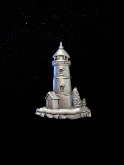 """JJ"" Jonette Jewelry Silver Pewter LIGHTHOUSE #3 Tac Pin ~ Sea, Summer, Beach"