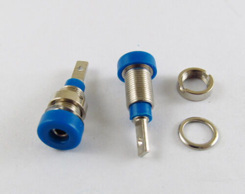 10x Blue Multimeter Instrument 2mm Binding Post Banana Panel Mount Test Probe