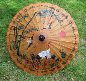 Hand-painted-Thai-paper-wood-PARASOL-35-034-diametar-summer-holiday-fancy-dress-new