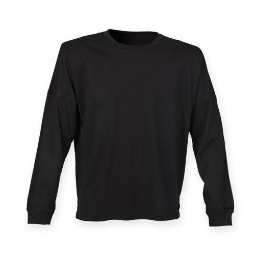 SF Unisex Adults Long Sleeve Drop Shoulder Casual Plain T-Shirt Crew Neck Top