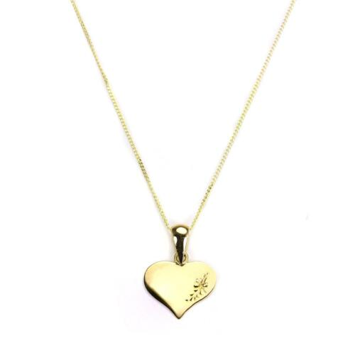 9ct Yellow Gold Engraved Heart Shaped Pendant