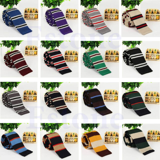 Men's Fashion Colourful Tie Knit Knitted Necktie Narrow Slim Skinny Woven Tie