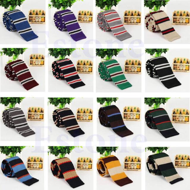 Men's Fashion Colourful Tie Knit Knitted Necktie Narrow Slim Skinny Woven Tie