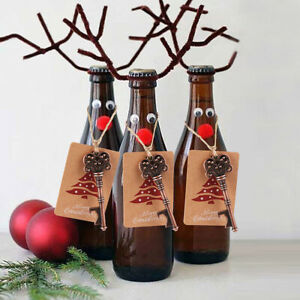 10-X-Santa-Magic-Key-Kapselheber-Bier-Offner-Kronkorken-Beer-Christbaumschmuck