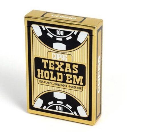 Spielkarten 100/% Plastik Copag Playing Cards Texas Holdem Gold// Black