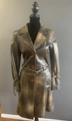 Genuine Leather Beltred Trench Coat, Green/Olive,… - image 1