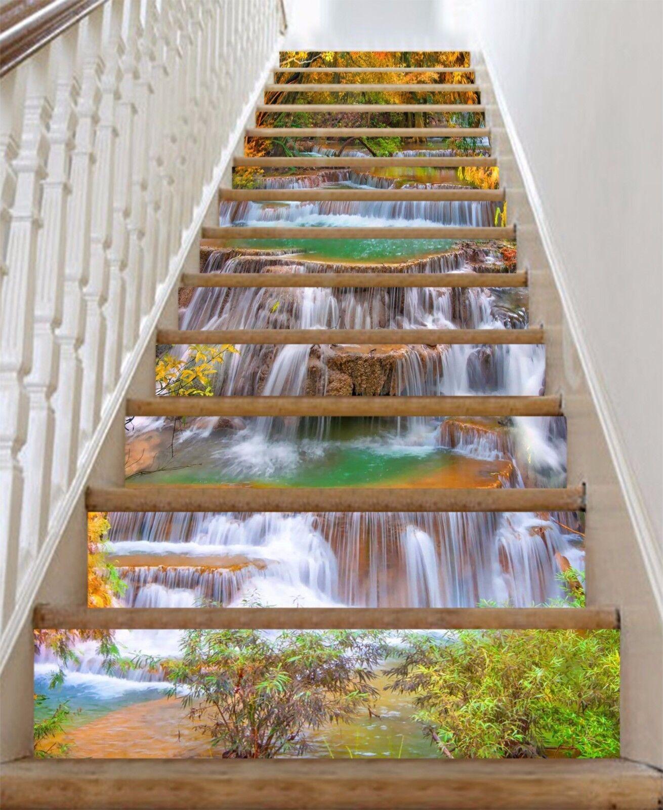 3D River Falls 033 Stair Risers Decoration Photo Mural Vinyl Decal Wallpaper AU
