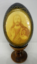 alte Ei Ikone Holz Jesus auf Ständer Russland H11cm