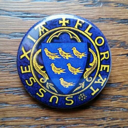 38mm Badge or Magnet Sussex Flourishes Sussexia Floreat
