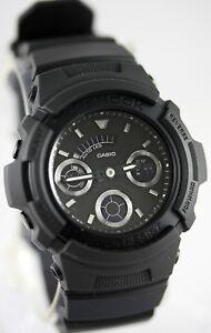 Casio-AW-591BB-1A-G-Shock-Men-039-s-Matte-Black-Watch-Analog-Digital-World-Time