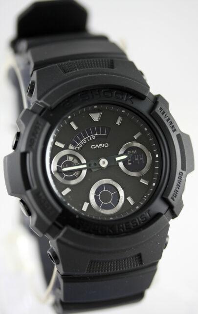 Casio AW-591BB-1A G-Shock Men's Matte Black Watch Analog Digital World Time