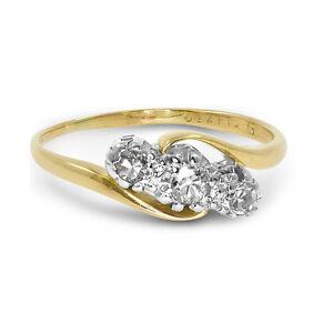 Ct-18-Oro-Amarillo-Platino-Vintage-0-20-Trio-de-Diamantes-Anillo-Tamano-J