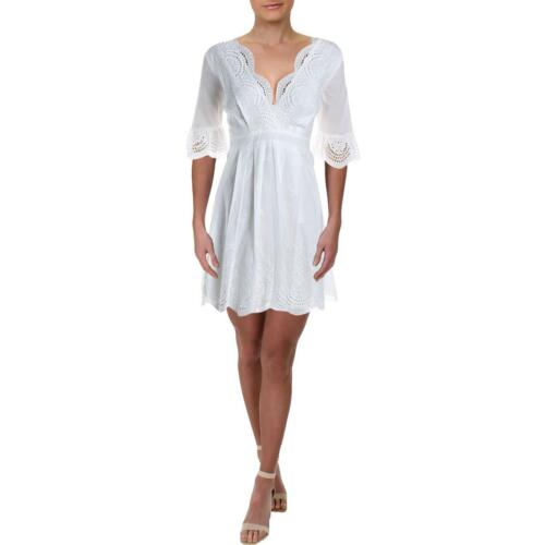 Aqua Womens White Eyelet Scallop Hem Mini Casual Dress XS BHFO 2491