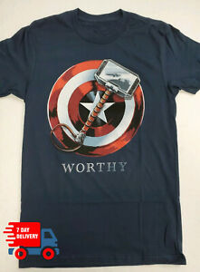 Avengers-Captain-America-Worthy-Mens-T-Shirt-For-Fan-Made-USA-Navy-Tee