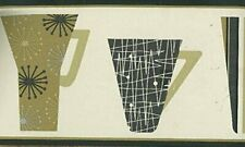 Wallpaper Border Waverly Mid Century Modern Retro Coffee Mugs Black Beige Gray
