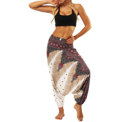 UK Women Ladies Harem Pants Yoga Loose Baggy Hippie Boho Beach Wide Leg Trousers