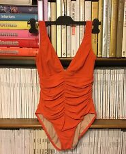 KARLA COLETTO ruched one piece orange underwired swimsuit UK 12-14 US 8-10 Vneck