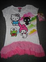 Hello Kitty & Friends Melody Chococat Keroppi Ruffle Shirt Size Xs 4-5 4 5