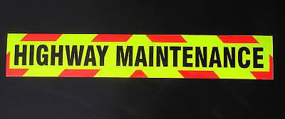 Highway Maintenance Fluorescent Sign Larger Sticker