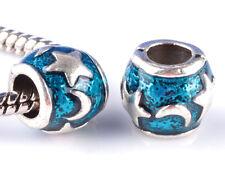 2pcs silver Moon and stars Painted big hole Beads European Charm Bracelet #F858