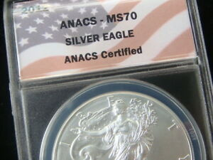 ANACS GRADED MS70  2012 SILVER AMERICAN EAGLE 1 troy OUNCE .999 SILVER COIN