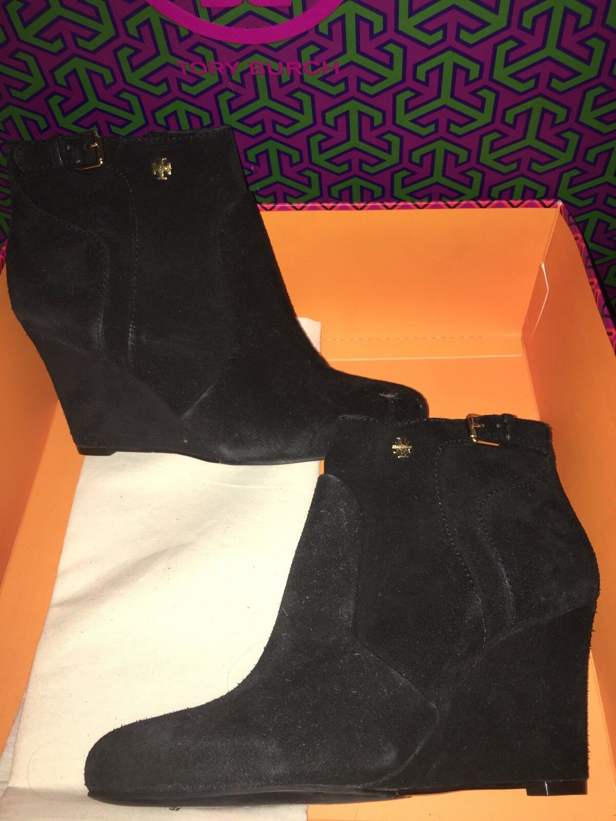 NEW Tory Burch Black Suede Wedge Ankle Boot Bootie gold logo 6M Milan MSRP  395