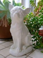 Chihuahua Statue, Painted White, Small Dog Concrete Cement Statue, Chi Memorial