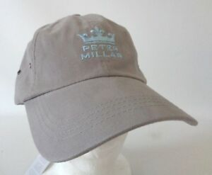 Peter Millar Golf Strapback Hat Crown Logo Spellout Gray Light Blue ... b1ff5dad2808