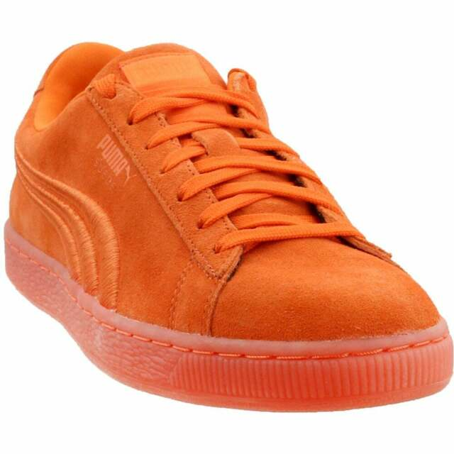 Puma Suede Classic Badge Iced Lace Up Sneakers  Casual   Sneakers Orange Mens -