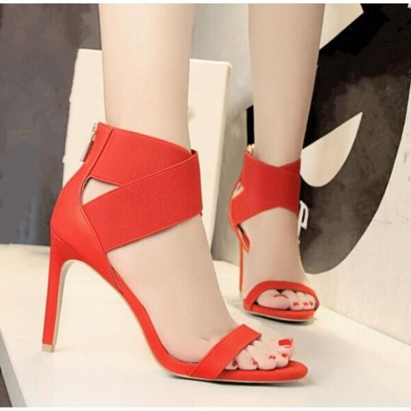 sandalias de mujer 10 cm elegantes tacón aguja rojo cruce alto como piel CW680