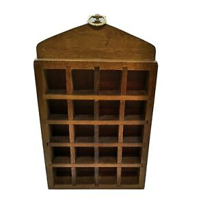 Wood Wall Thimble Collection Display Case 20 Slots Vintage