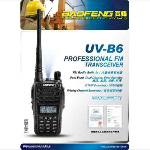 Baofeng UV-B6 Dual Band VHF UHF 5W 99 Channels FM Portable Two-way Radio US SHIP