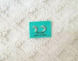 Solid 925 Sterling Silver Minimalist Moon Crescent Stud Earrings US SELLER