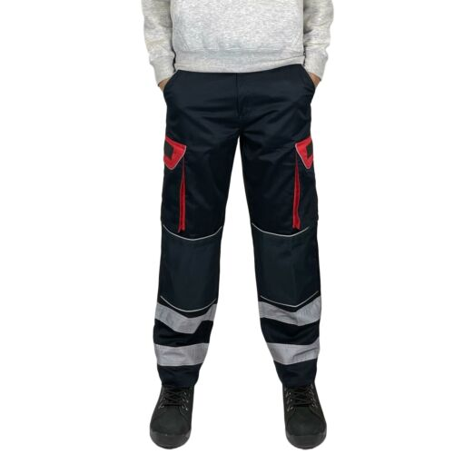 Mens Hi Vis Multipocket Polycotton Cargo Work Trousers with Kneepad Pockets