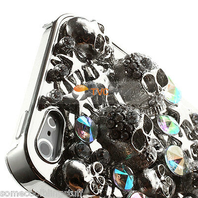 NEW COOL LUXURY BLING SILVER SKULL DIAMANTE PROTECTIVE CASE COVER 4 IPHONE 6 6s