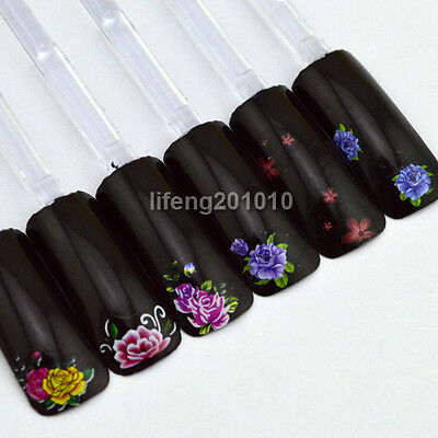 flower water transfer nail art stickers decals for nail tip decoration tool cute