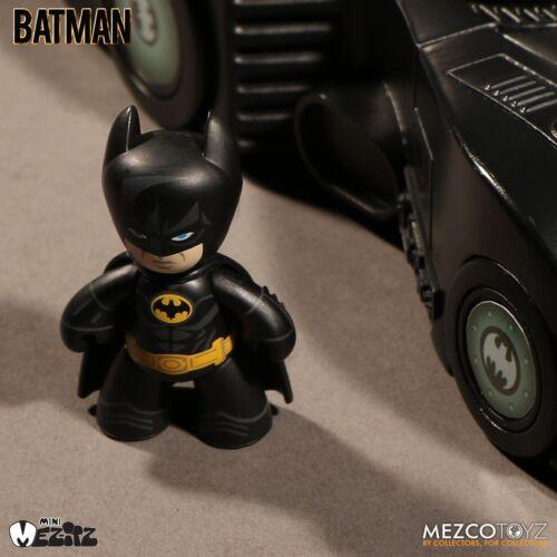 MEZCO TOYZ Mini MEZ-ITZ 1989 Batman avec BATMOBILE Figurine Set New In Hand