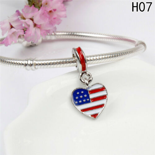 2 Silber Nationalflagge Charms Anhänger Fit Halskette Kette Armband